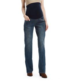 Bella Vida Dark Blue Bling Maternity Bootcut Jeans