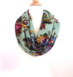Holiday scarf Floral scarf Teal scarf Green scarf by SewBirdiful