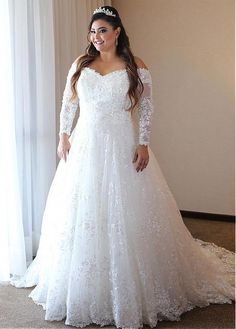 Wedding Dress Lace, Winsome Sequin Lace Off-the-shoulder Neckline A-line Plus Size Wedding Dresses, Unique and inexpensive wedding gowns that wow! Shop our wedding dresses online and in-store for top styles and trendy bridal looks. A Line Wedding Dress With Sleeves, Plus Wedding Dresses, Western Wedding Dresses, Classic Wedding Dress, Princess Wedding Dresses, Lace Dresses, Bridal Dresses, Bridesmaid Dresses, Plus Size Dresses