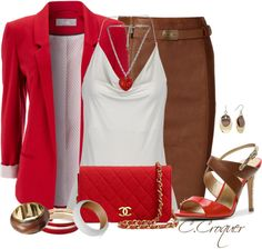 """Brown & Red"" by ccroquer on Polyvore"