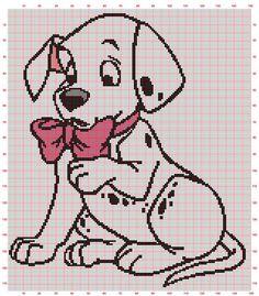 Dalmatian Puppy with Bow. Crochet Blanket Edging, Crochet Mandala Pattern, Crochet Cross, Cute Cross Stitch, Beaded Cross Stitch, Cross Stitch Embroidery, Disney Cross Stitch Patterns, Cross Stitch Designs, Bobble Stitch