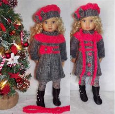 "HANDKNIT DRESS,HAT,LEGGINGS,BOOTS SET MADE FOR KIDZ N CATS&SIMILAR SIZE18"" Dolls"