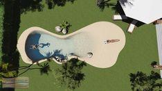 Piscina con dos playas, banco de burbujas - Piscinas de Arena Natursand