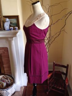ANTHROPOLOGIE FLOREAT BURGANDY Womens Dress 2  CROCHET LACE EMBROIDERED PURPLE S #ANTHROPOLOGIE #FLOREAT #Shift #Casual #burgundydress