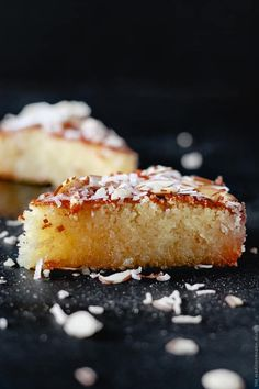 Basbousa: Almond Coconut Semolina Cake Basbousa is an Egyptian semolina cake drenched in syrup. Today, I'm sharing my aunt Maha's special recipe! - Basbousa recipe semolina cake from The Mediterranean Dish Baking Recipes, Cake Recipes, Dessert Recipes, Basbousa Cake Recipe, Food Cakes, Cupcake Cakes, Cupcakes, Gastronomia, Sweets