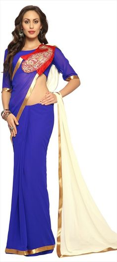 146521, Party Wear Sarees, Embroidered Sarees, Faux Georgette, Patch, Zari, Lace, Machine Embroidery, Blue, White and Off White Color Family   #saree #colorblock #blue #paisley #Patchwork #Partywear #Indianwedding #cocktailparty #onlineshopping #designer #sale