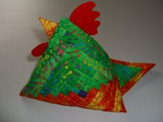 Multi Coloured Log Cabin Patterned Chicken by Koolquilting on Etsy