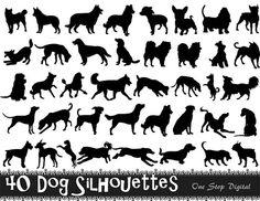 Instant Download 40 Digital Dog Silhouette Clip Art Black Dog Silhouette Clipart Scrapbooking Dog Element 0224