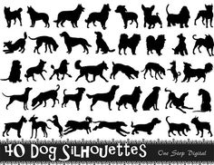 Instant Download 40 Digital Dog Silhouette Clip Art Black Dog Silhouette Clipart Scrapbooking Dog Element 0224