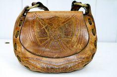 Vintage leather purse hippie boho handbag 1960