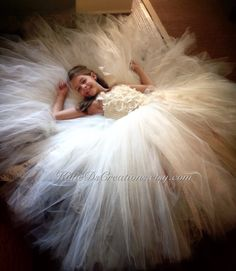 Ivory Lace Tutu Flower Girl Dress with Removable Train / Pageant ...