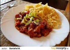Sójové kostky v rajčatové omáčce recept - TopRecepty.cz Tofu, Cabbage, Tacos, Vegetarian, Beef, Vegetables, Ethnic Recipes, Detox, Cooking