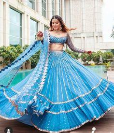 Indian Dresses For Women, Party Wear Indian Dresses, Indian Bridal Outfits, Indian Fashion Dresses, Designer Indian Dresses, Indian Gowns, Blue Lehenga, Lehenga Choli, Bridal Lehenga