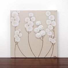 flowers for neutral, white flowers on canvas