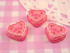 Gorgeous little strawberry and cream LOVE heart cake flat back cabochons.