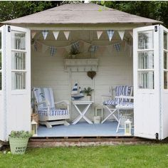 Make a shed a pool cabana.This little cabana-like house is the perfect backyard escape. You could even makeover an existing shed or free-standing garage into your own haven. Summer House Garden, Seaside Garden, Home And Garden, Small Summer House, Garden Cottage, Summer House Decor, Summer Houses Uk, Garden Art, Corner Summer House