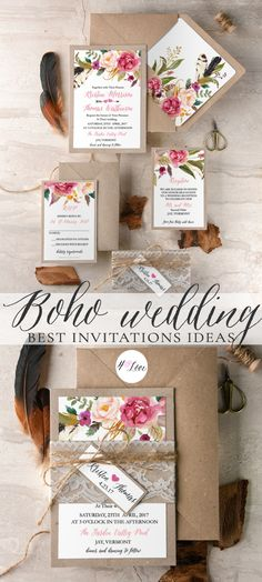 Ideas for Boho wedding invitations full of flowers and beautiful calligraphy printing, Personalized, custom handmade wedding invitations supplementary wedding stationery and wedding accessories. Wedding cards: Invitations, Save the Dates, Thank You cards and more. Find the perfect design for your special day! Unique designs and affordable prices! #wedding