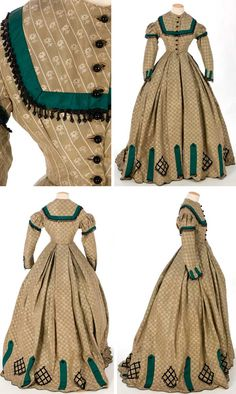 One-piece silk taffeta dress, ca. 1860s. Strips of green silk taffeta, cut on the bias, trim bodice, sleeves, and hem. Fringe and jet beads on bodice, sleeves, and hem. Bodice lined with cotton and boned; skirt is unlined. Textile Museum & Documentation Center of Terrassa (IMATEX)