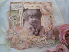 Shabby card with handmade flowers