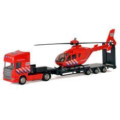 Ga op een spannend reddingsavontuur met deze brandweer vrachtwagen en helikopter. Laat de helikopter de lucht in stijgen en help de hulpvoertuigen op de grond met hun reddingsoperatie!Afmeting: 29,5 x 5,5 x 10 cm - Die-cast Vrachtwagen met Helikopter - Brandweer