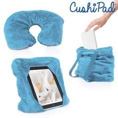 Tablethouder? Hoofdsteun voor in de auto? Nekkussen of slaapkussen? Tablet holder, headrest for in car, neck pillow or just a pillow? Check here: http://www.justgoodle.com/nl/kussens/5854-cushipad-3-in-1-cushion.html