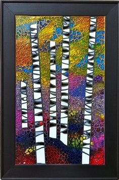 Standing in the Light by Cristina Ciloci reminds me of birch trees.needs a cardinal. Mosaic Crafts, Mosaic Projects, Mosaic Art, Mosaic Glass, Mosaic Tiles, Stained Glass, Glass Art, Prophetic Art, Wow Art