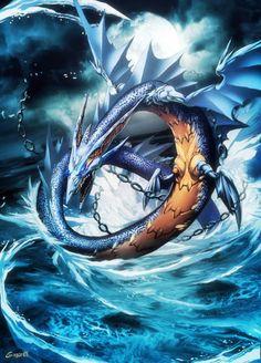 El leviatán es un ser monstruoso que aparece en la biblia, mezcla entre una serpiente de mar y una ballena.