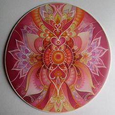 Mandala Art on Silk.Love your life.Healing home decoration.Silk Art by EditaBlazekAtelier on Etsy Q Tip Painting, Sand Painting, Mandala Painting, Beginner Painting, Mandala Art, Easy Paintings For Beginners, Mandala Rocks, Digital Art Tutorial, Silk Art