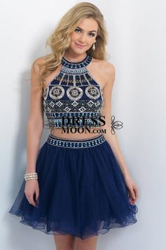 Two Pieces Homecoming Dresses 2015 Short Prom gown Backless Beaded Sweet 16 Dresses Jewel Navy Beach Party Dresses with Crystals 2 Piece Homecoming Dresses, Hoco Dresses, Formal Dresses, Graduation Dresses, Mini Dresses, Dresses 2016, Prom Gowns, Dress Prom, Bridesmaid Dresses