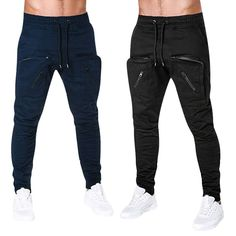 Buy Pure Colour Pocket Zipper Casual Sports Trousers at www. Sports Trousers, Summer Winter, Sport Casual, Fishing, Minimal, Black Jeans, Mens Fashion, Zipper, Moda Masculina