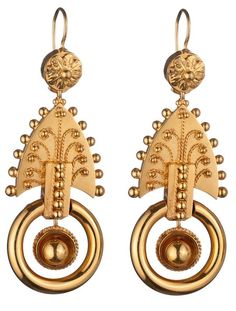 Victorian Gold Earrings ~ Oh, beautiful! Edwardian Jewelry, Antique Jewelry, Vintage Jewelry, Antique Earrings, Gold Earrings, Prom Earrings, Victorian Gold, Antique Gold, Bijoux Design