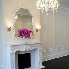 Melissa Miranda Interior Design - living rooms - moldings on wall, mirror above fireplace, mirrors above fireplace, mirror over fireplace, m. Decor, Interior, Romantic Decor, White Fireplace, Fireplace Mirror, Living Room Decor, Home Decor, Victorian Design, Fireplace