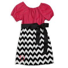 Hot Pink Corduroy Black Chevron Charlotte Dress