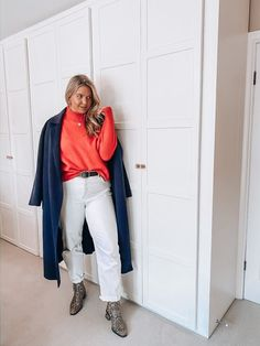 Shop Your Screenshots™ with LIKEtoKNOW.it, a shopping discovery app that allows you to instantly shop your favorite influencer pics across social media and the mobile web. Orange Jumpers, Snake Boots, Navy Coat, Daily Look, White Jeans, Duster Coat, Curves, Shop My, Europe