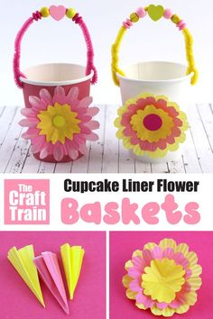 This is a cute and easy basket kids can make for Easter using a paper cup as the basket and a beaded pipe cleaner as the handle – so pretty! Creative Activities For Kids, Easy Crafts For Kids, Toddler Crafts, Crafts To Do, Projects For Kids, Easter Crafts For Seniors, Senior Crafts, Children Activities, Sensory Activities