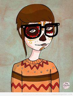 ilustración Santa Muerte Hipster