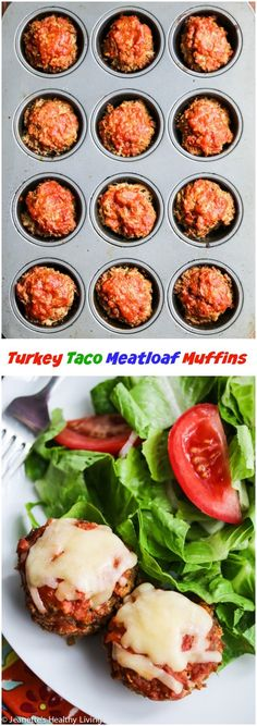 Gluten-Free Mexican Turkey Taco Meatloaf Muffins Recipe ~ http://jeanetteshealthyliving.com
