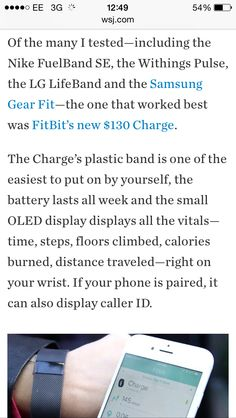 A good write up in the Wall Street Journal for FitBit Charge Fitbit Charge, Wall Street Journal, Lifestyle, Fitness