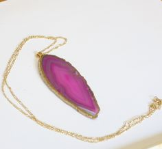 Beautiful Gilded Magenta Agate Slice Large Geode Necklace. Geode Jewelry, Rosa Agate Jewelry, 14k Gold Chain,Free Shipping - pinned by pin4etsy.com