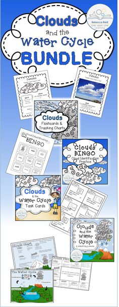 $ Clouds and the Water Cycle BUNDLE is packed with activities to review ten different clouds types and the stages of the water cycle.   Included are full-page posters of 10 clouds (clip art or photographs), a cloud chart, water cycle diagram, cloud BINGO, 30 cloud and water cycle task cards, and MORE!