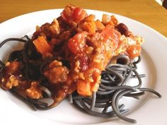 Chili can be served over a variety of pasta colors and shapes for a fun way to have Italian meet Latin at your dinner table. Using fun colors, like our squid-ink dyed black pasta, is a great way to get everyone more excited about dinner. This chili is easy to make and it is high in flavor thanks to our technique to quickly toast the spices in the pan.