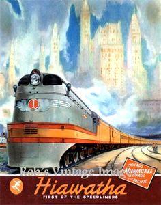 "Milwaukee Road Hiawatha Railroad Train 1937 Art  Deco Poster 8 x 11.5"" Train CMSP"