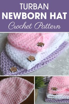 This Turban Newborn Hat is a fashionable additional accessory for your little one's wardrobe! #crochet #crochetlove #crochetaddict #crochetpattern #crochetinspiration #ilovecrochet #crochetgifts #crochet365 #addictedtocrochet #yarnaddict #yarnlove #crochethat