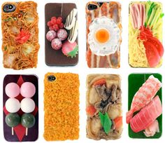 Food styled iphone cases ... from Japan of course--- maybe not these.. But I WILL be buying my next case in Japan! (=^ェ^=)