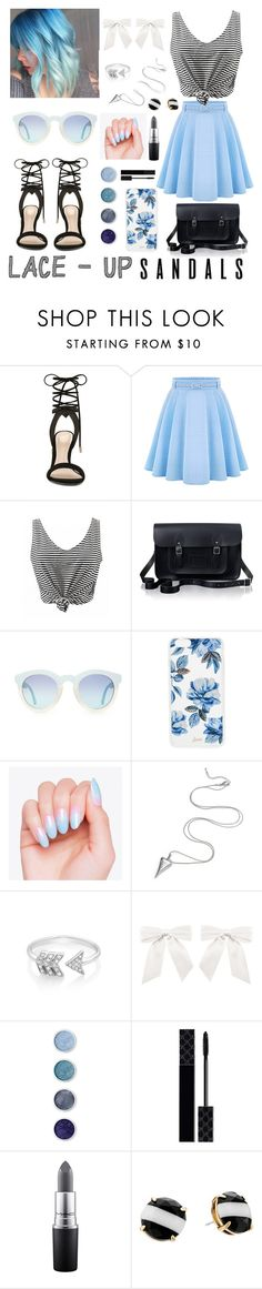 """Lace Up Sandals"" by meaghanheimbach ❤ liked on Polyvore featuring ALDO, WithChic, The Cambridge Satchel Company, Sonix, EF Collection, Terre Mère, Gucci, MAC Cosmetics and Kate Spade"