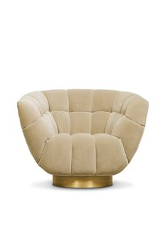 Metamorphosis is the transformation process from caterpillar to butterfly. It inspired the creation of ESSEX Swivel Chair. This barrel chair is upholstered in velvet and has a base in aged brass matte that adds charisma. It will add a refined elegance to any living room set that only velvet chairs are capable of.