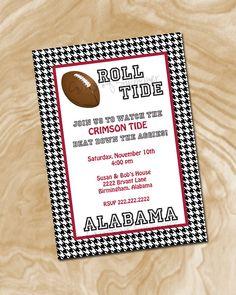 Alabama Football Invitation.. Or an Alabama football themed birthday party invitation? :)