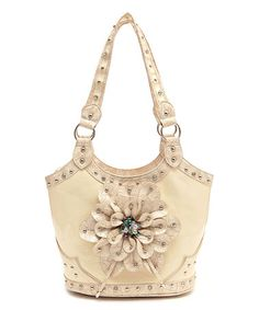 $27.99 Look at this #zulilyfind! Natural Floral Stud Shoulder Bag #zulilyfinds