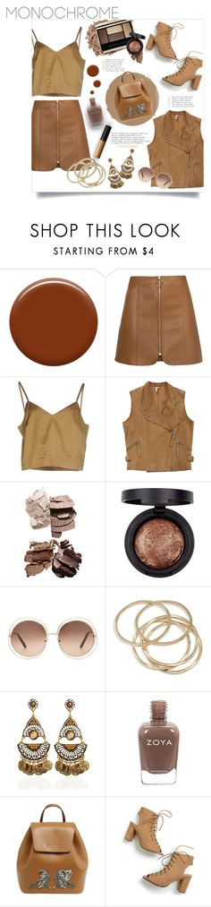 """""""Monochromatic brown"""" by idonthavebrains ❤ liked on Polyvore featuring Lauren B. Beauty, Erika Cavallini Semi-Couture, IRO, Chloé, ABS by Allen Schwartz, N°21 and MAC Cosmetics"""