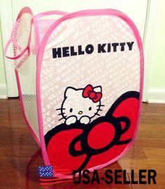 Cute Hello Kitty Foldable Laundry Toys Basket Tidy Clothes Socks Storage Bag Box